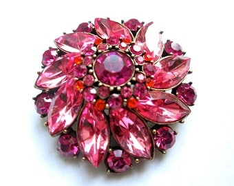 Vintage Rhinestone Brooch Pink Red Orange 1950s