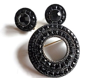 Vintage Black Rhinestone Pin and Earrings Japanned Mourning Jewelry 1950s