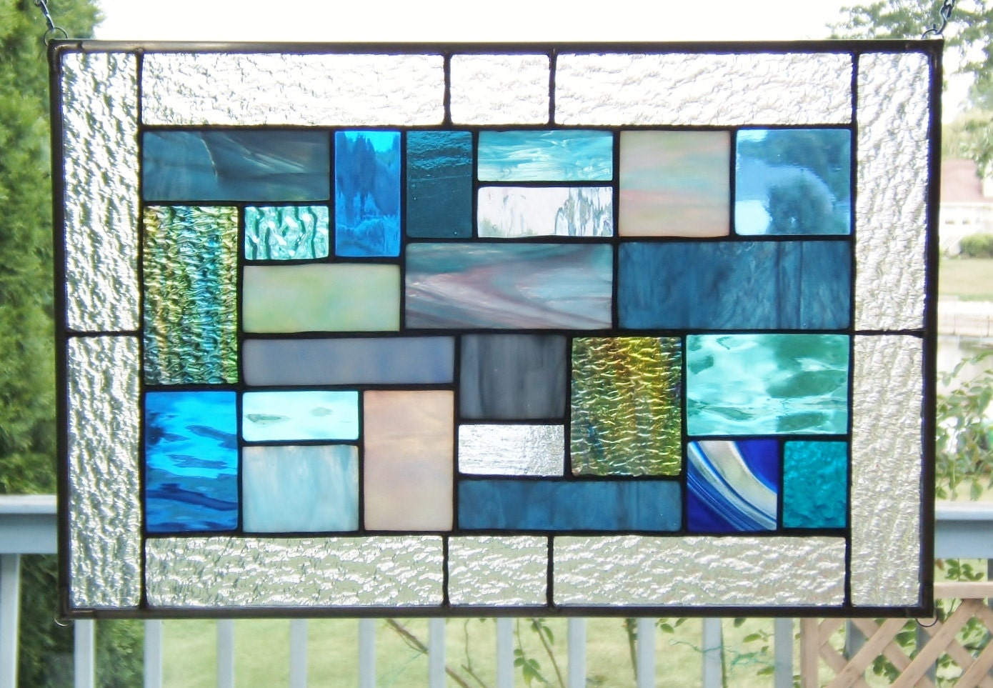 Blues stained glass panel window hanging geometric by SGHovel