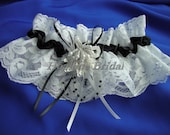 Lace Garter, Black ribbon/white lace Garter, Bridal Garter, Prom Garter