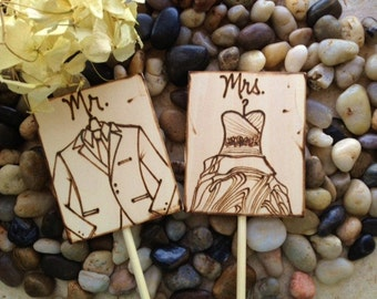 Mr. & Mrs. Personalized Cake Toppers with the BRIDE'S Wedding Dress and the GROOM'S Tuxedo or Attire - SO Unique Custom Made Just for You