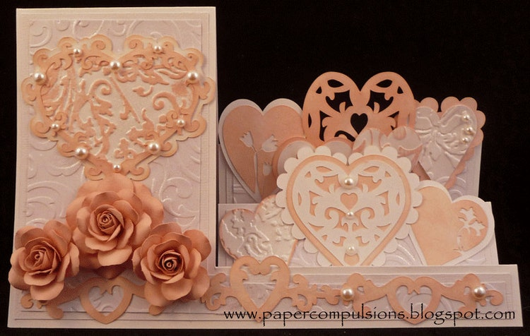 Heart Side Step Card SVG cut files & PDF by papercompulsions