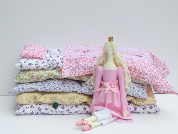 The Princess and the Pea play set - lovely fairy tale fabric doll,blonde in pink dress cloth doll,stuffed doll- gift idea for girls