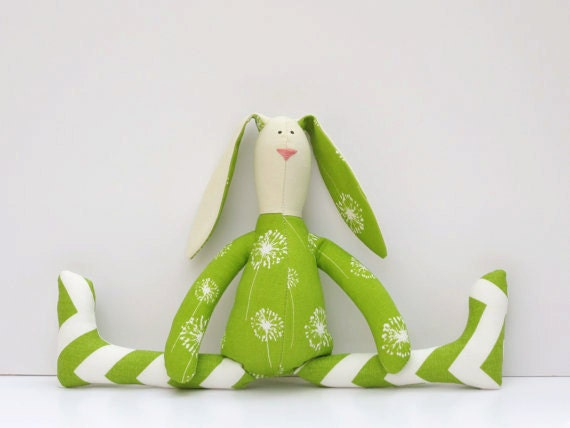 Reserved for Joan - Stuffed bunny rabbit hare green stripes - plush rabbit bunny doll -cute softie stuffed toy hare
