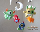 Monster Mobile, Baby Mobile, Baby Crib Mobile - Nursery Decor Cute Monsters, Space Monters, Stars and Moon - Handmade Felt Mobiles
