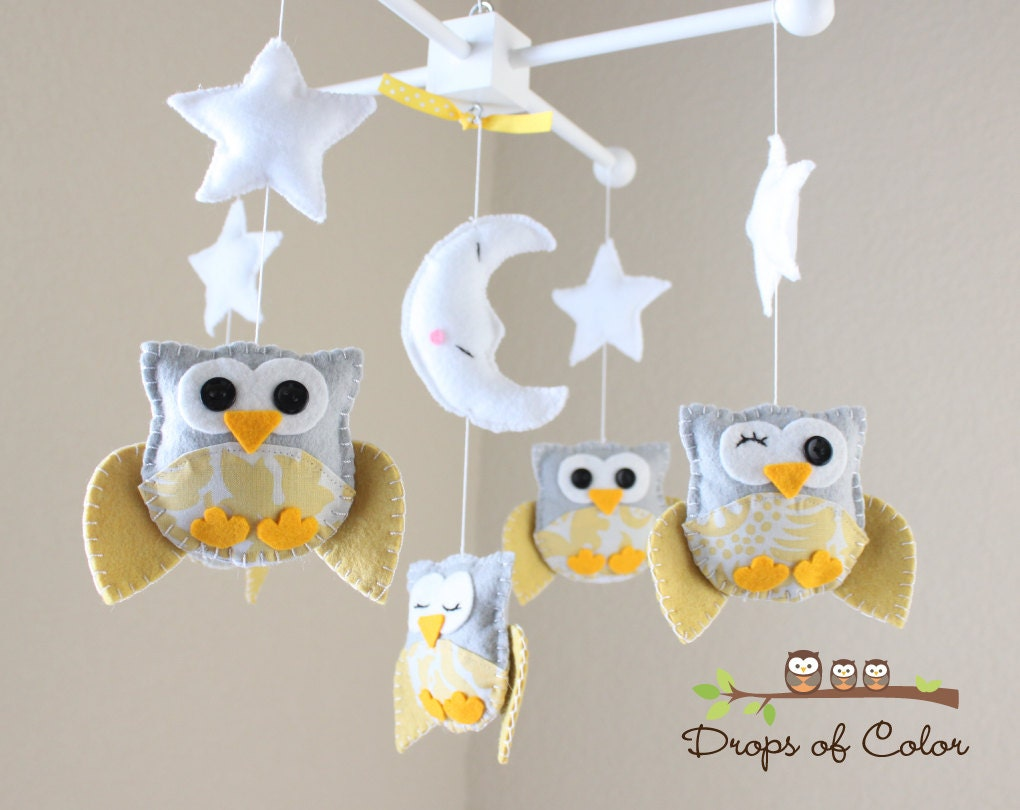 baby crib mobile baby mobile nursery owl mobile yellow - 🔎zoom