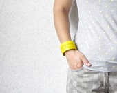 RESERVED LISTING - for Anna - Artistic Yellow Leather Cuff