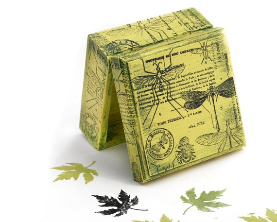 Boxes, Green Dragonfly Natural History, Green Wooden Box,  Jewelry box , ohtteam