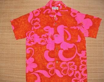 Mens Vintage 70s Island Fashions Mod Rockabilly Hawaiian Tiki Shirt - S - The Hana Shirt Co