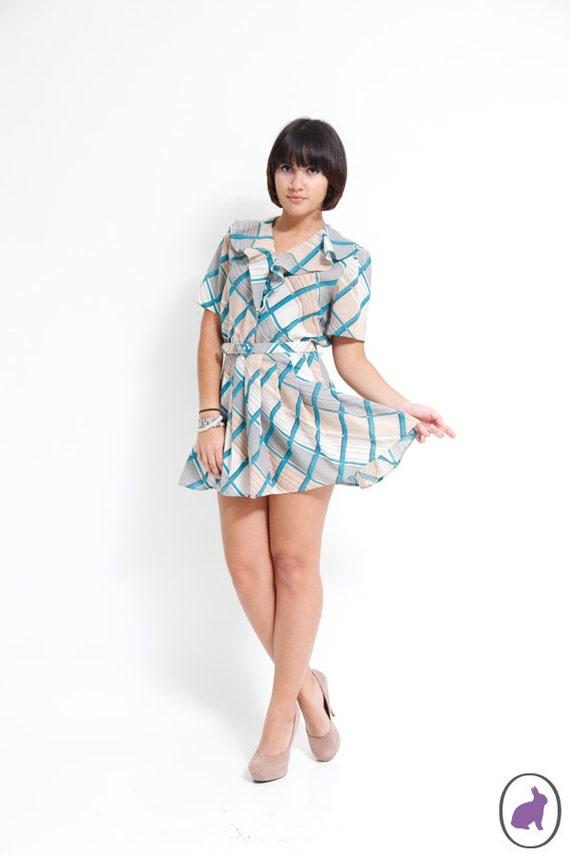 Vintage 70s Plaid Ruffled Mini Dress - Blue and Gray Stripe - Pleated Skirt - Summer Fashion - small
