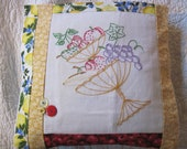 "14"" x 14"" PILLOW COVER - Vintage hand-Embroidered Cherries Apple Grapes Fruit Bowl"