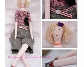 Business Lady cloth fabric doll with bag - made to order