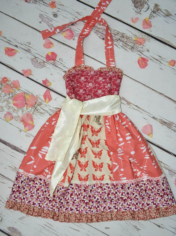 Vintage Retro inspired girl cotton dress and sash 3 4 5  years brown red rust butterflies