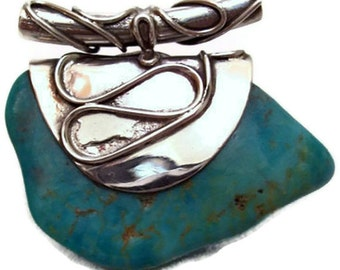 Large Turquoise Pendant - Sterling Silver Jewelry - OOAK