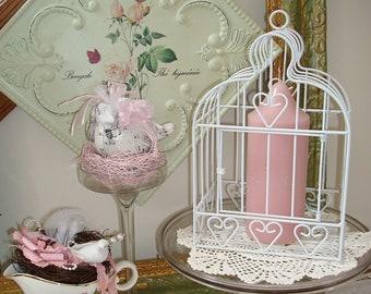Metal Birdcage-White Home Decor Birdcage-Wedding-Card Holder-Flower Arrangement-Shabby-Cottage-Romantic.