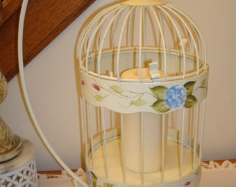 Metal tall birdcage and stand-cream-hand painted flowers-home decor birdcage-wedding-shabby-French-cottage.