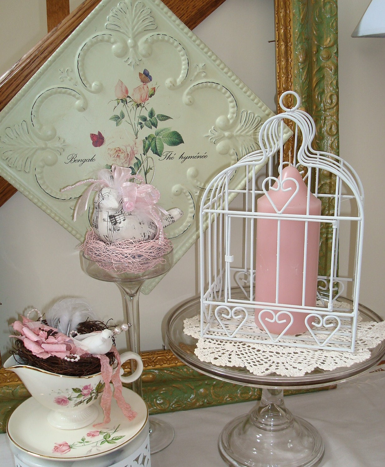 Metal birdcage white home decor by tapersnpetals on etsy Metal home decor