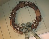 Faith Family Friends Grapevine Wreath with Cream Berries and Green Plaid Bow