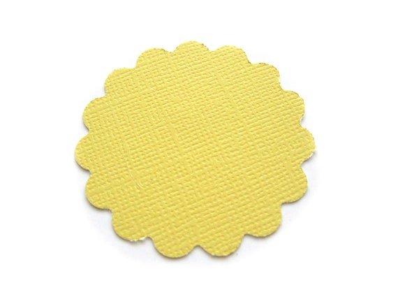 CLEARANCE SALE Yellow Scallops Scalloped Textured Die Cut Tags 2 inch - Set of 25