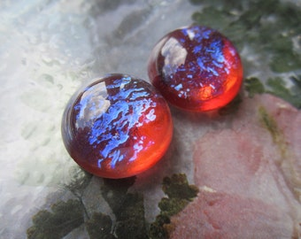 Dragons Breath Opal Glass Cabs aka Mexican Opal Glass Cabs 18mm 2Pc.
