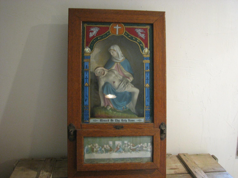Antique catholic wall altar pieta shrine communion set for Altar wall decoration