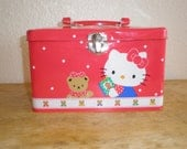 vintage early 90s Hello Kitty traditional metal tin school box with handle