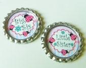 BOTTLECAPS - Big Sister Little Sister Bottlecap - Sisters Pink Harlequin Bottlecap (Set of 2 - You Pick)
