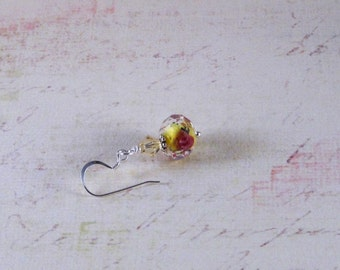 Yellow with roses glass earrings with Swarovski crystals and sterling silver