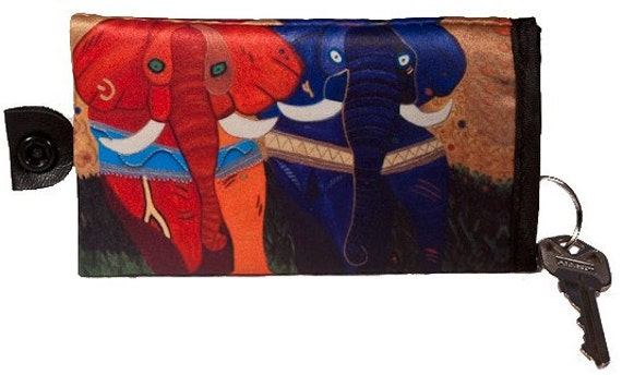 Elephants Key Case by Salvador Kitti Perfect Key Chain and Hangs on the Wrist - From My Original Painting, Pride