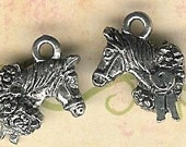 Antique Silver Horse Head Charm- 6 pieces-lead free
