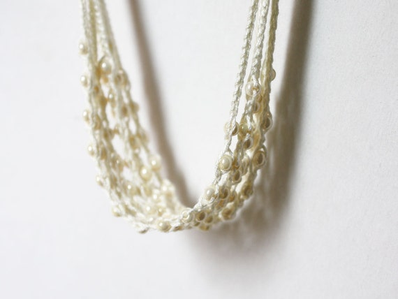 Ivory white necklace Boho jewelry Cotton necklace crocheted with glass beads Gift for her Bohemian wedding