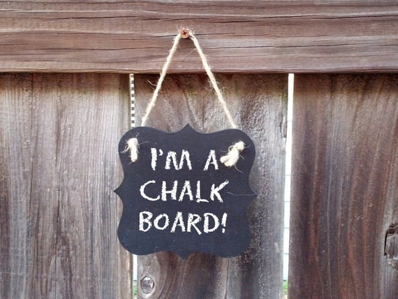small chalkboard hanging wood sign