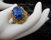 Antique Art Nouvea Dinner Ring Gold Floral Design Large Blue Oval Stone Great Gatsby Glam