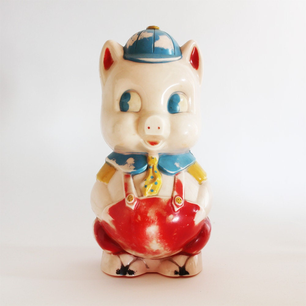 Vintage piggy bank from reliable rare plastic childrens bank for Childrens piggy bank