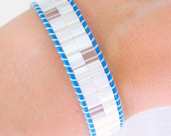 Beaded Leather Cuff with Blue Leather