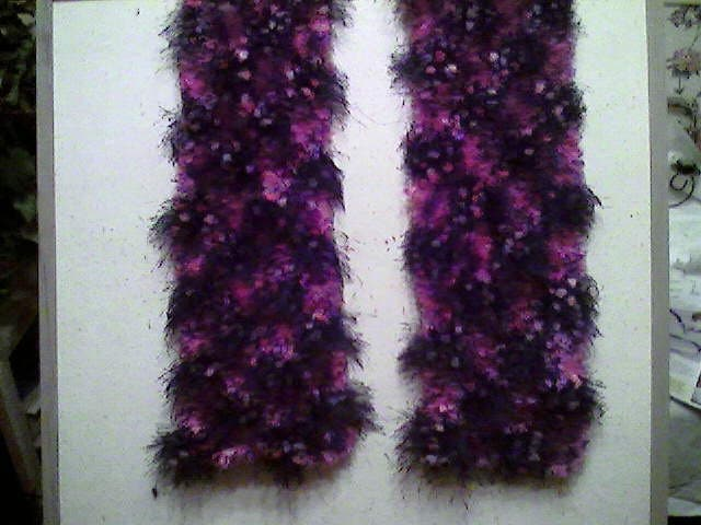 Easy Knitting Patterns Eyelash Yarn Scarf : Knit eyelash yarn scarf in purplish pinks and black