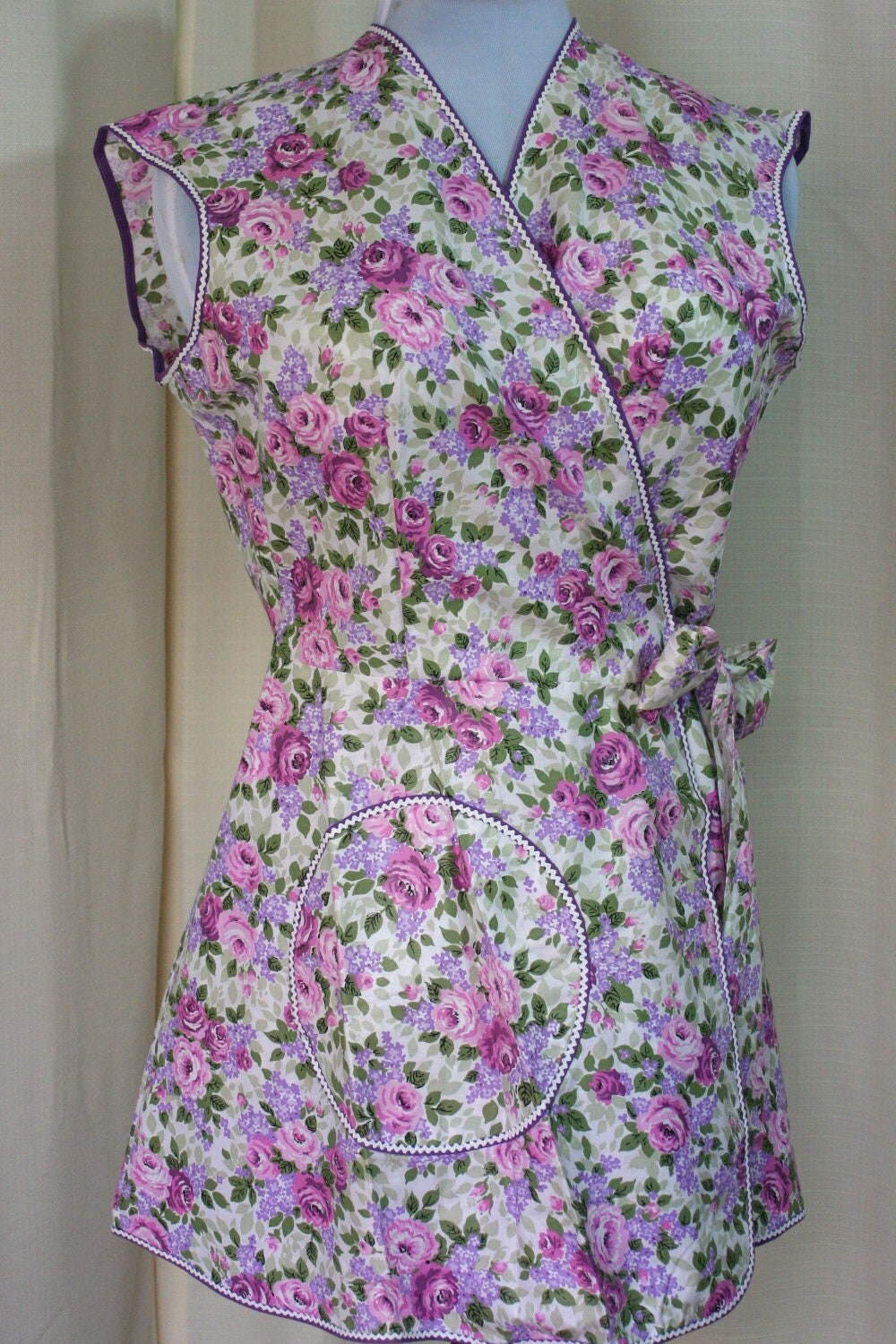 Vintage Apron Wrap Around Style With Pink And Purple Floral