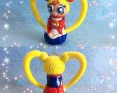 Sailor Moon/Serena/Sailor Jupiter/Nina Inspired Miniature Kokeshi Charms