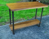 Modern Walnut and steel counter height table