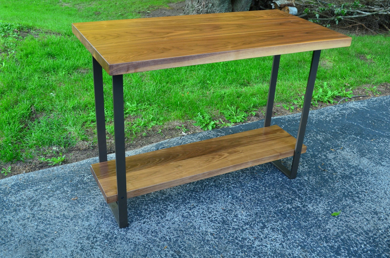 Counter Height Modern Table : Modern Walnut and steel counter height table