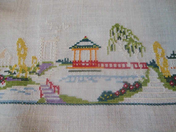 Embroidered Table Cover Petit Point Embroidery Vintage Tea Cloth