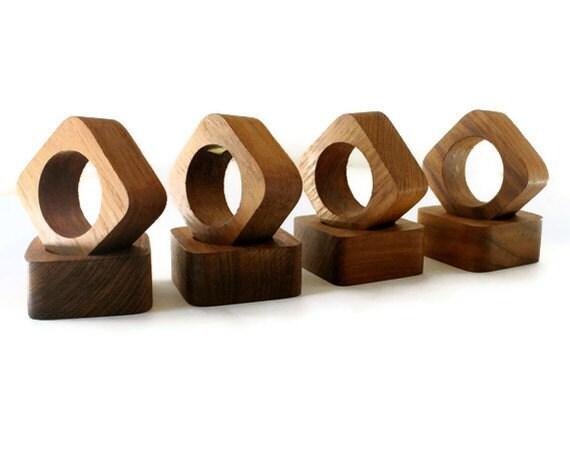 Vintage Teak Napkin Rings, set of eight