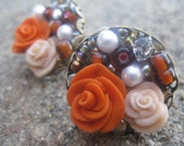 Orange and Cream Rose Brass Stud Earrings
