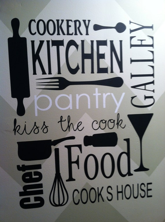 Items similar to vinyl wall decal kitchen pantry on etsy for Kitchen quote decals
