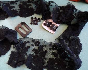 Lace: Black, cotton, Downton Abbey, vintage trim.