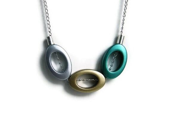 SALE Geometric Necklace Minimalist Jewelry Oval Metallic Beads Beadwork Necklace