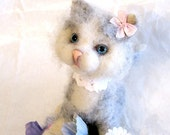 Funny kitten , soft, grey, lovely, made of wool-Gift idea, OOAK