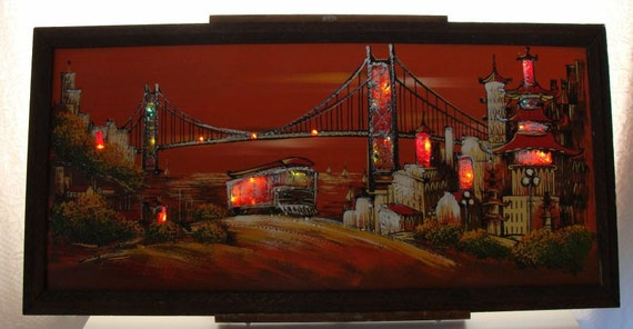 San Francisco Ts >> Items similar to Mid Century Modern Ashbrook Imports Lighted Painting San Francisco Red Sky ...