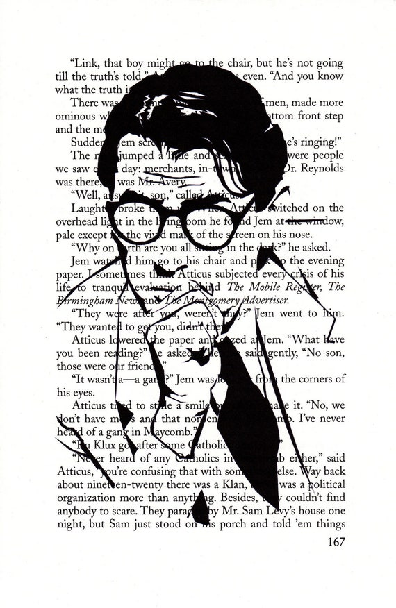 Atticus Finch Printed Illustration on Page from Novel