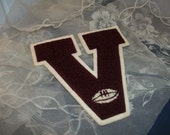 Vintage Letter Jacket Letter    Burgundy Letter V with White Trim with White Football too